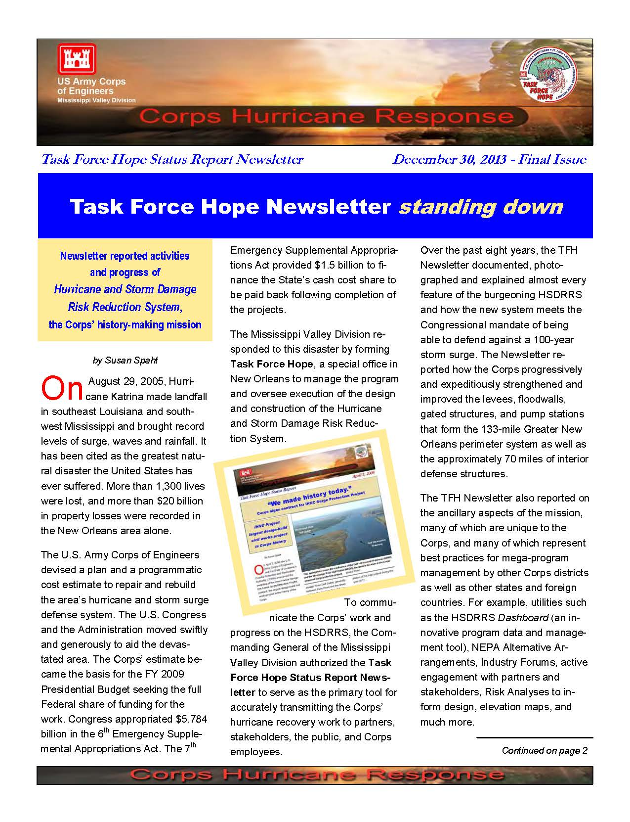 Current and final issue of Task Force Hope newsletter