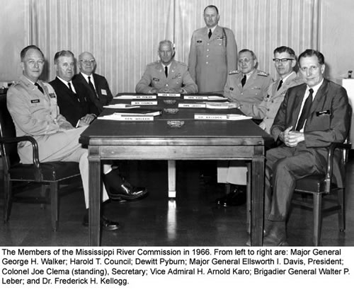 The members of the Mississippi River Commission in 1966.  From left to right are:  Maj. Gen. George H. Walker; Harold T. Council; Dewitt Pybum; Maj. Gen. Ellsworth I. Davis, President; Colonel Joe Clema (stanting), Secretary; Vice Admiral H. Arnold Karo; Brigadier General Walter P. Leber; and Dr. Frederick H. Kellogg.